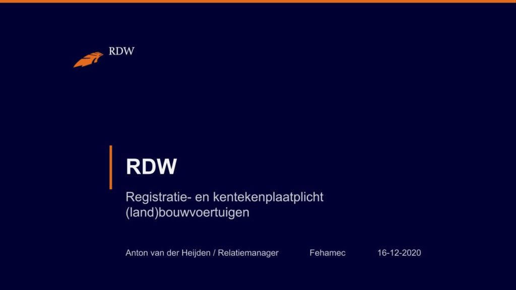 Kentekening RDW landbouwvoertuigen 1