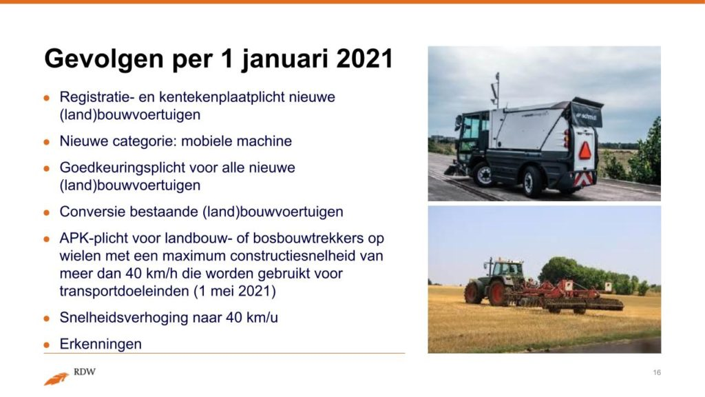 Kentekening RDW landbouwvoertuigen 16