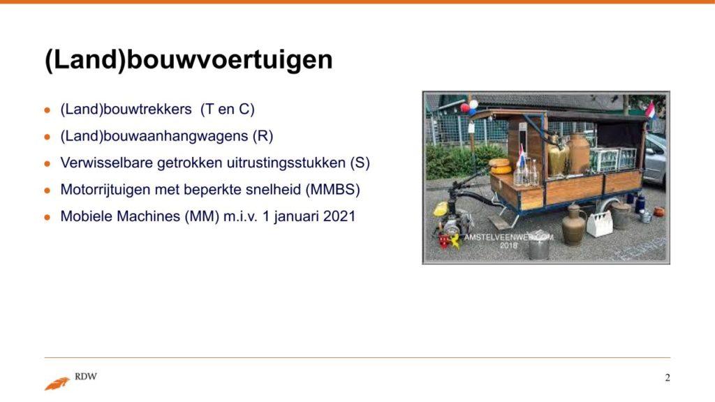 Kentekening RDW landbouwvoertuigen 2