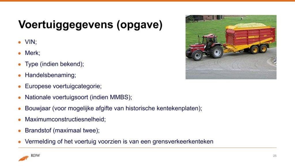 Kentekening RDW landbouwvoertuigen 25